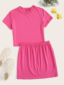Solid Basic Tee With Skirt