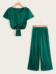 Ribbed Tie Front Top With Wide Leg Pants