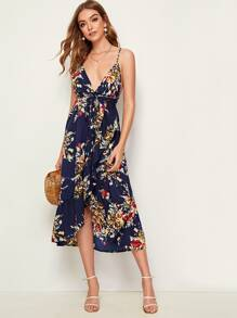 Floral Print Backless Tulip Hem Cami Dress