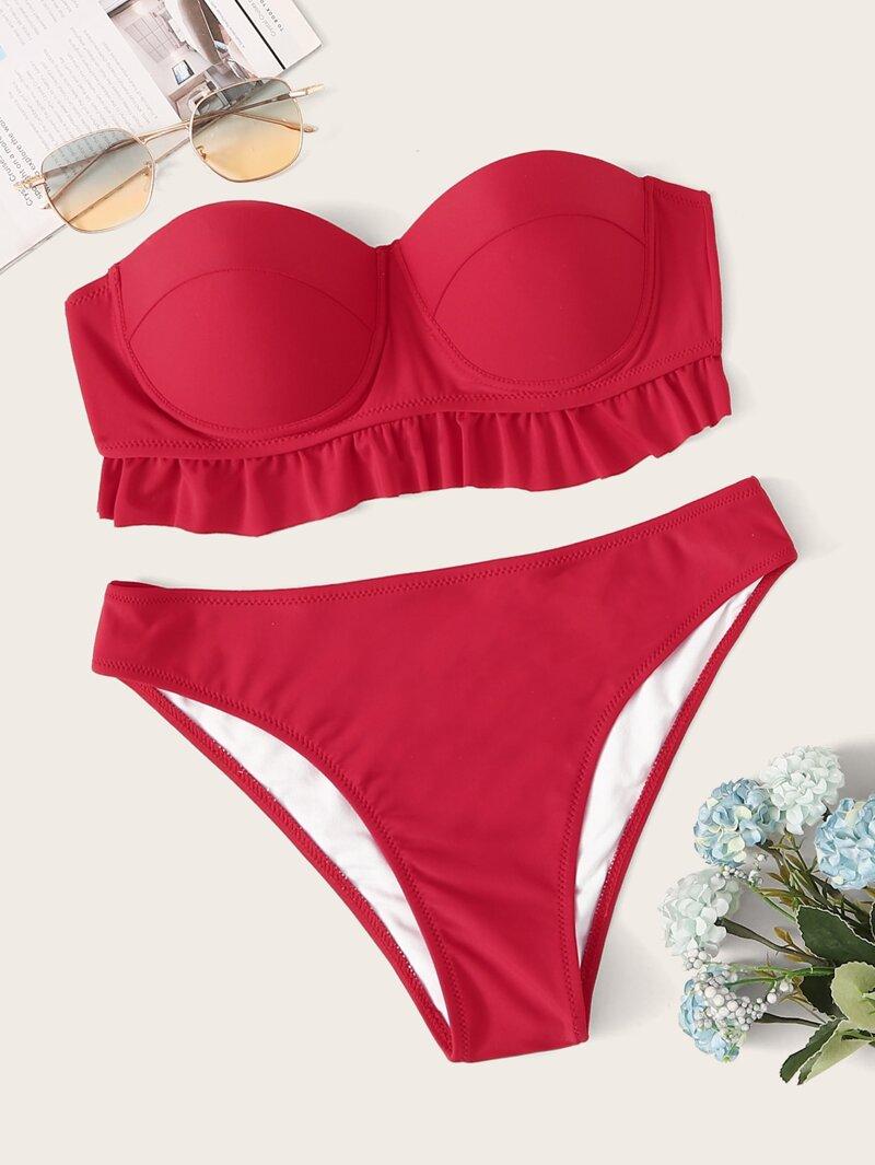 ce5fe28f2 Set de bikini bandeau bustier fruncido con bragas
