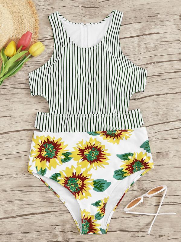 5f8e7dec68 Random Sunflower & Striped Cut-Out One Piece Swim | SHEIN UK