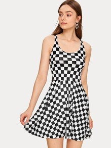 Checkerboard Print Fit And Flare Tank Dress