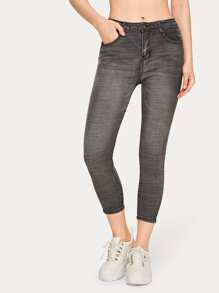 Button Fly Skinny Solid Crop Jeans