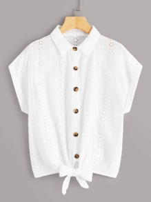 Eyelet Embroidery Button Front Knot Blouse