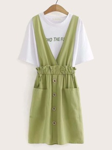 Letter Print Tee With Paperbag Waist Pinafore Skirt
