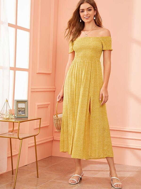 ed2c8a0ea3b9e Ditsy Floral Off Shoulder M-slit Hem Shirred Dress