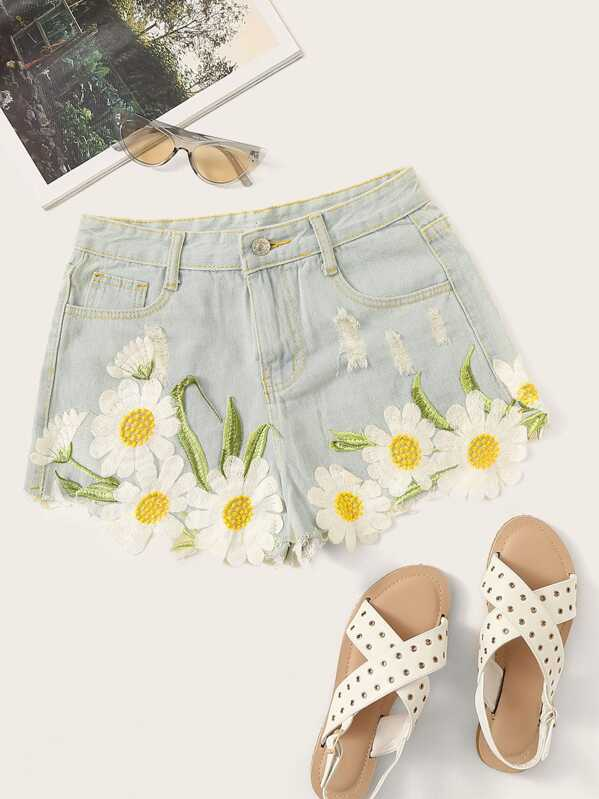 Floral Embroidered Stitch Detail Denim Shorts by Sheinside