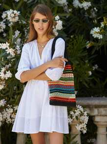 V Neck Eyelet Embroidered Smock Dress
