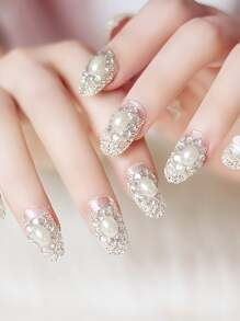 Faux Pearl & Rhinestone Decor Fake Nail 24pcs