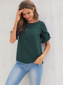 Frill Trim Flounce Sleeve Solid Blouse