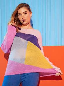 Plus Cut And Sew Color Block Sweaters