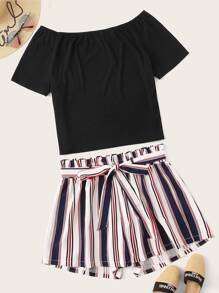 Plus Solid Tee With Striped Belted Frill Wide Leg Shorts