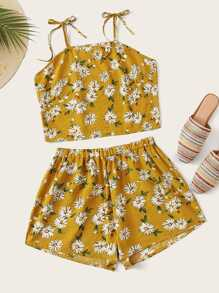 Plus Daisy Print Knot Strap Cami Top With Wide Leg Shorts