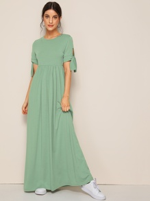 High Waist Knot Sleeve Flare Maxi Dress