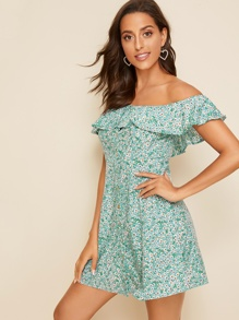 Off Shoulder Ruffle Foldover Ditsy Floral Dress