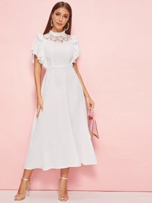 Lace Yoke Insert Butterfly Sleeve Ruffle Armhole Flare Dress