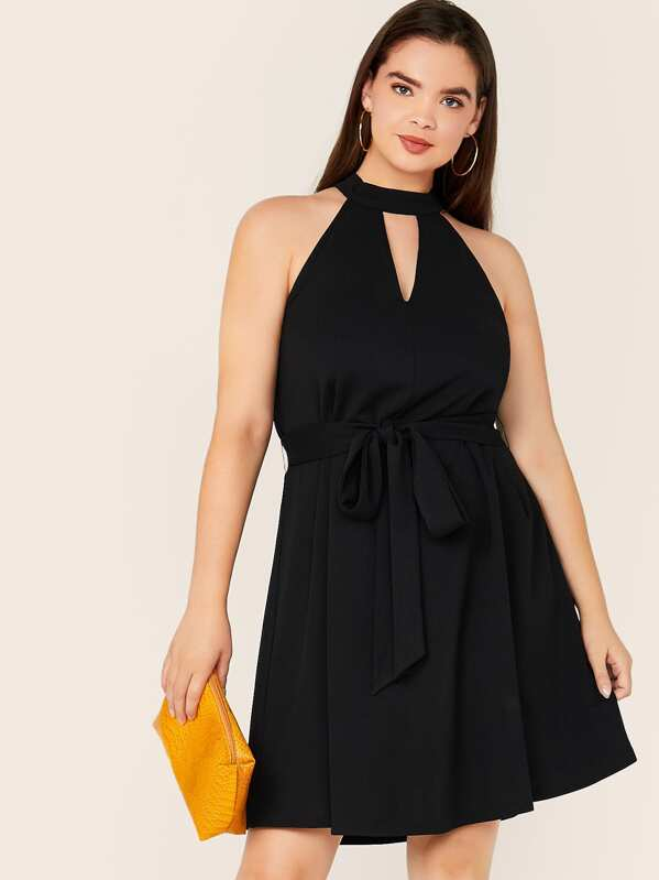 Plus Cut Out Front Self Belted Halter Dress