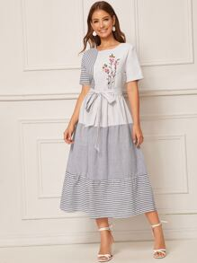 Embroidery Front Cut-and-Sew Striped Belted Dress