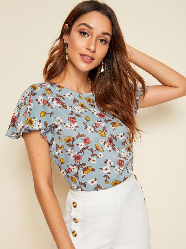 a7838d00a0 Floral Print Flutter Sleeve Top