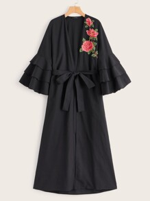 Embroidered Floral Layered Flounce Sleeve Abaya With Belt