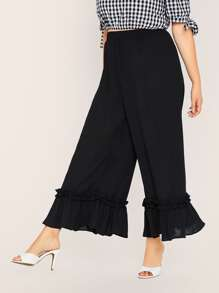 Plus Solid Frill Trim Flare Leg Pants