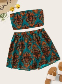 Plus Paisley Print Tube Top With Shorts