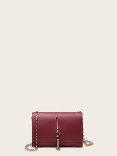 Tassel Decor Chain Crossbody Bag