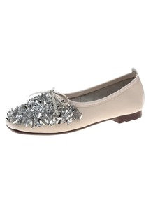 Bow Decor Glitter Ballet Flats