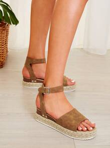 Open Toe Buckle Strap Espadrille Sandals