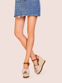 Bow Decor Buckle Strap Espadrille Wedges