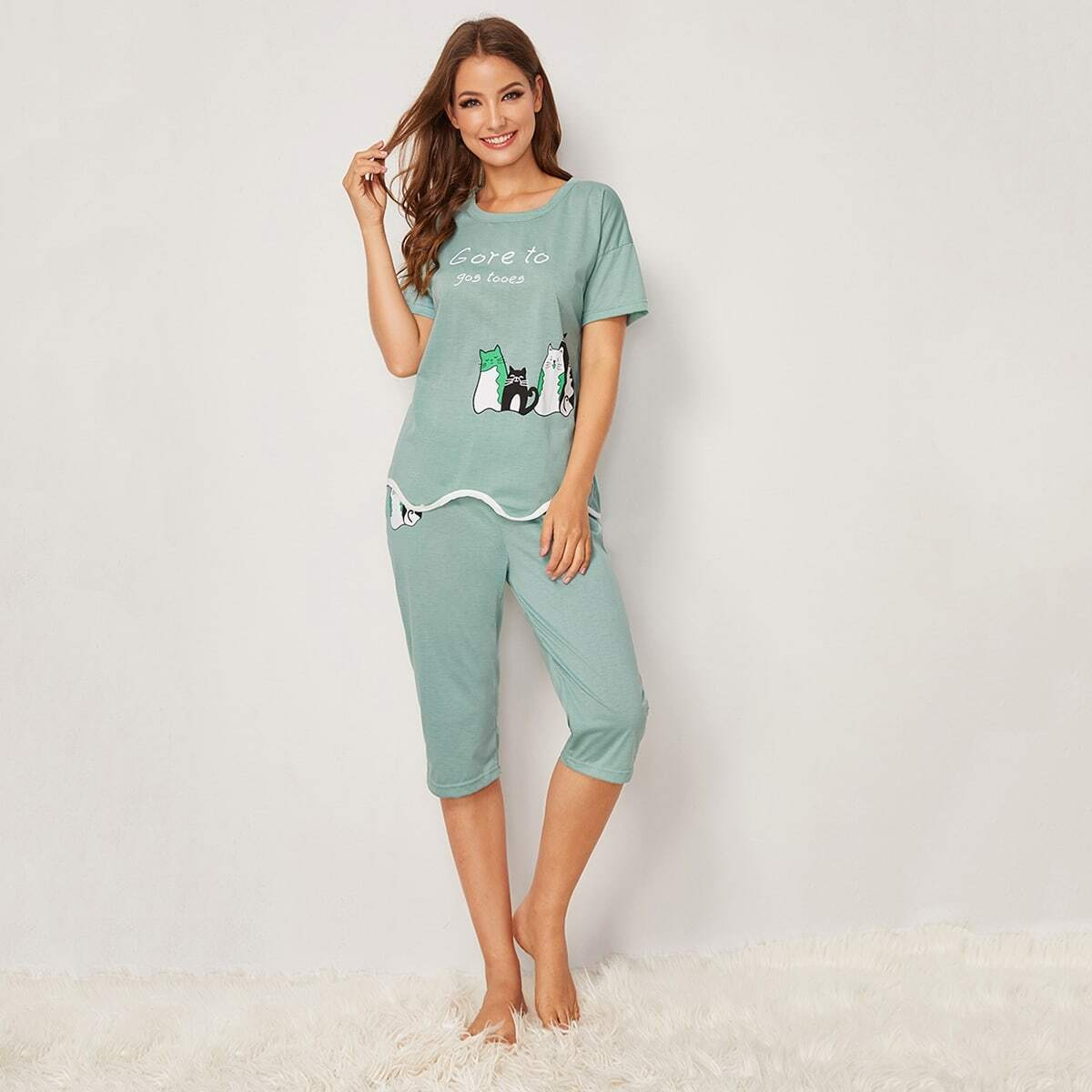 Pajama Set mit Katze und Buchstaben Muster