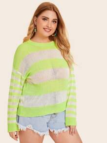 Plus Striped Color Block Sweaters
