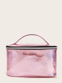 Letter Pattern Iridescence  Portable Makeup Bag