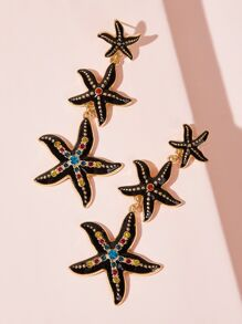 Rhinestone Engraved Starfish Drop Earrings 1pair