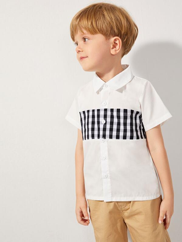 5387dbd103 Toddler Boys Contrast Gingham Panel Shirt
