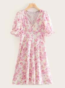 Floral Print V-neck Puff Sleeve Frill Trim Dress