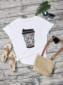 Slogan And Coffee Cup Print Tee