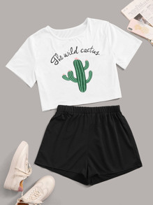 Letter And Cactus Print Tee & Shorts