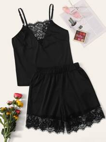 Lace Panel Cami Top With Shorts