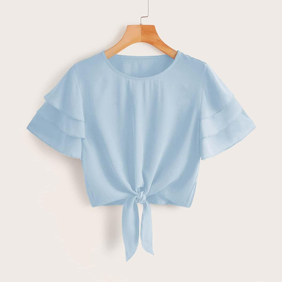 Однотонная блуза с многослойным рукавом и узлом