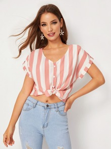 Striped Button Front Rolled Cuff Blouse