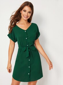 Solid Button Front Rolled Cuff Belted Shirt Dress