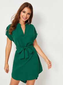 V-neck Rolled Cuff Dip Hem Belted Dress