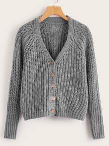 Button Front Solid Knit Sweater