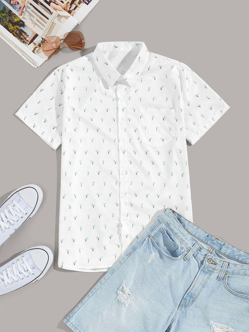De Con Palmera Camisa Bolsillo Hombres Estampado jA54LR