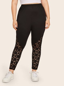 Plus Contrast Lace Solid Skinny Leggings