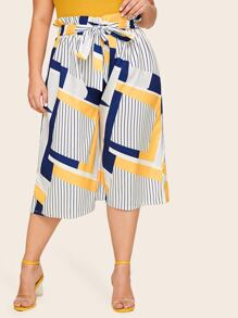 Plus Wide Leg Striped Geo Print Belted Pants