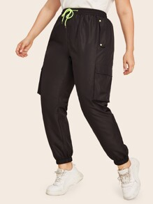 Plus Waist Drawstring Side Pocket Pants