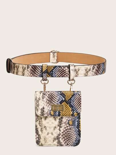 Twist Lock Detail Snakeskin Print Flap Fanny Pack