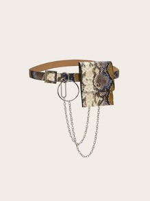 Chain Decor Snakeskin Print Fanny Pack